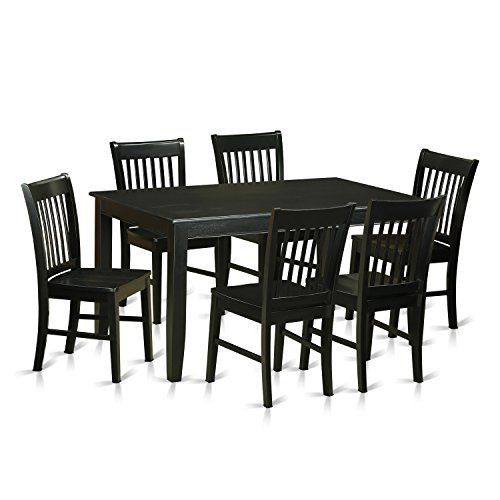 East West Furniture DUNO7-BLK-W 7 Piece Kitchen Table and 6 Dining Chairs Set For Sale