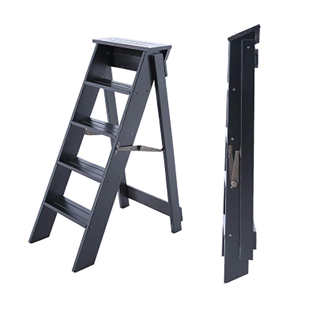 LQtd Taburetes Taburete de Paso Taburete Interior de Engrosamiento Escalera pequeñ a multifunció n Escalera Plegable de Madera Maciza de Cinco Capas (Color mú ltiple Opcional) (Color : Blanco)