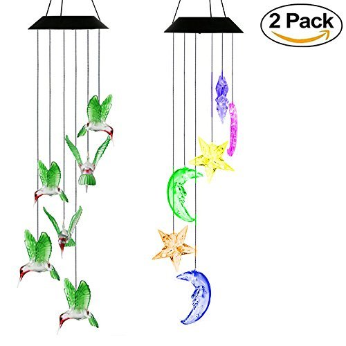 Aunifun 2pcs LED Solar Mobile Wind Chime Star & Moon LED Solar Windchimes and Hummingbird Wind Chime for Decoration Home
