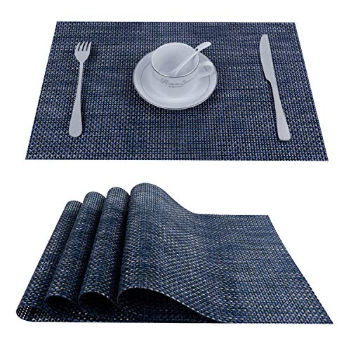 Top Finel Placemats for Dining Table,PVC Table Mats Set of 4,Place Mats Non-Slip Heat Resistant Washable,Navy (Basketweave Placemats)