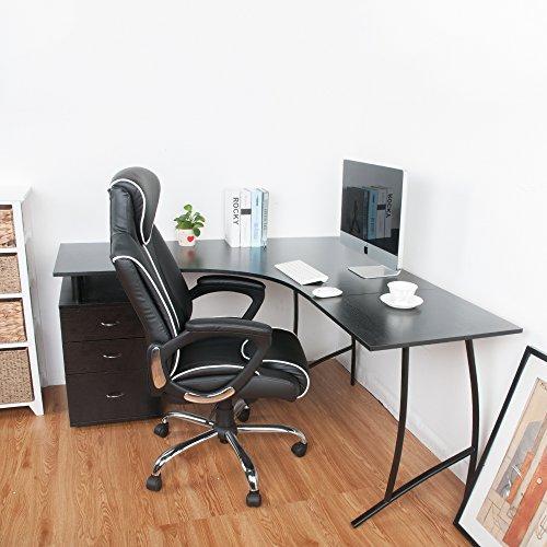LIFE CARVER L-Shape Large Corner Computer Desk PC Table Corner Home Office Desk (Black)
