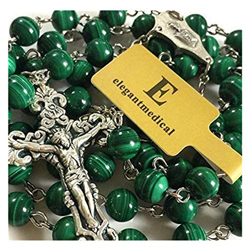 elegantmedical Handmade Malachite Gemstone & Rose Beads Rosary Cross Necklace Catholic Gift