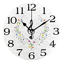 Linomo Music Treble Clef Notes Wall Clock Decor, Silent Non Ticking Round Clock Quiet for Kitchen Living Room Bedroom Bathroom Office