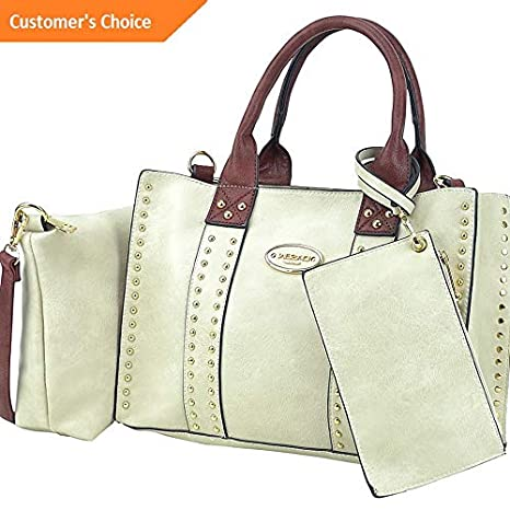 Amazon.com | Sandover Dasein Studded Satchel with Detachable Organizer Pouch | Model LGGG - 4470 | | Luggage & Travel Gear