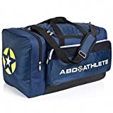 Team Sports Bag - Overnight, Travel & Gym by ABD ATHLETE - ON SALE NOW! Best Multi-Compartment Duffel & Space Saver w/ Built-In Insulated Cooler Compartment (Navy/Neon, Large)