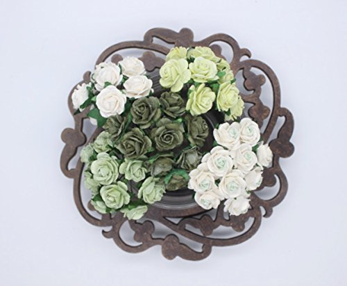 100 Pcs Mini Rose Mix Vintage Green Shade 10 mm Mulberry Paper Flowers Scrapbooking Wedding Decoration