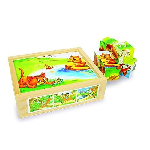 Legler - 2019635 - Puzzle En Bois - Cubes - Jeux D'animaux