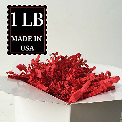 Crinkle Cut Paper Shred Filler for Packing and Filling Gift Baskets, Natural Craft Bedding in Brown Kraft Red Pink and White … (1 LB, RED)