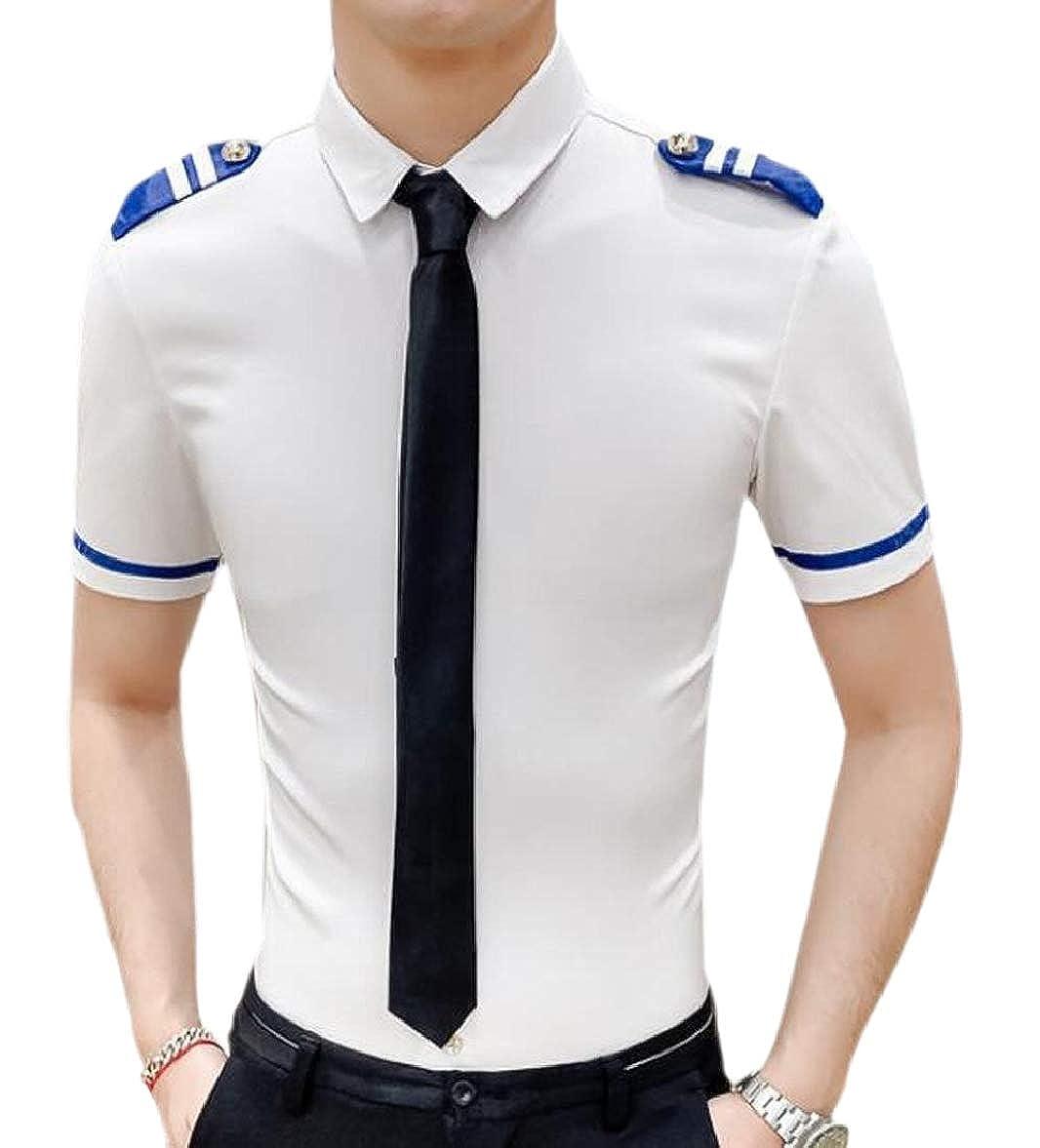 pujingge Men Slim Fit Short Sleeves Dress Shirts Casual Club Button Down Shirts