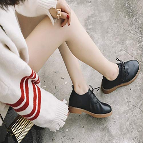 B Womens Planos Plana Casuales Retro Zapatos Cordones WawWvBPq