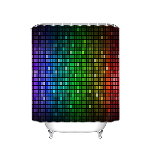 Abstract Color Mosaic Decoration Series, Faded Cube Geometric Mosaic Square Color Movement Gradient Print Urban Home, Polyester Fabric Bathroom Shower Curtain, 72 Inches Long, Olive Blue Purple