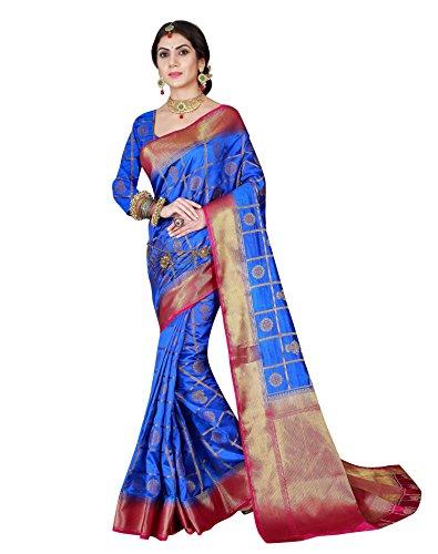 Royal Blue Color Banarasi silk saree With Unstitched Blouse Piece,Royal Blue,Free Size ()