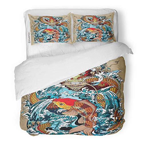 Tarolo Bedding Duvet Cover Set Golden Dragon and Koi Carp Fish Which is Trying to Reach The Top of Waterfall Tattoo According Ancient Chinese 3 Piece Queen 90