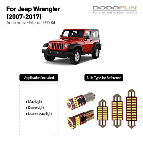 DODOFUN Deluxe Interior LED Lighting Kit for 2007-2017 Jeep Wrangler (9-pc Bulb 6000k)