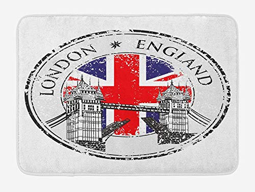 - British Bath Mat, London England Grunge Stamp with Flag Nostalgic National Graphic, Plush Bathroom Decor Mat with Non Slip Backing, 23.6 W X 15.7 W Inches, Scarlet Navy Blue Pale Grey