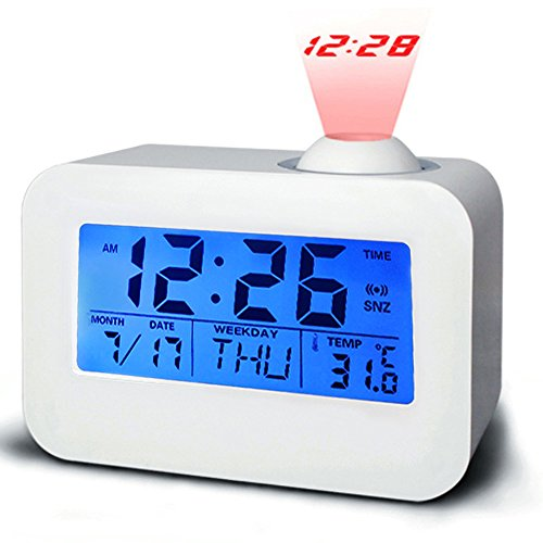 Zlimio Projection Clock- LED Digital Alarm Clock -Multifunction Digital Voice Control Backlight LCD Alarm Clock Projector Thermometer- for Bedroom, Office