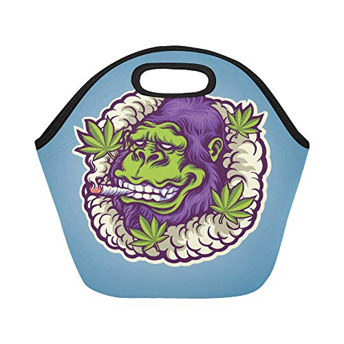 Insulated Neoprene Lunch Bag Greenrilla Mascot Logo Ready Use Your Large Size Reusable Thermal Thick Lunch Tote Bags Lunch Boxes For Outdoor Work Office School -