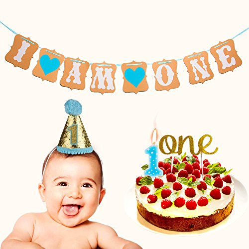 "Price comparison product image Handmade 1st Birthday Cake Topper Decoration -""One"" Decoration & First Birthday -""I Am One"" Banner - ""1"" Birthday Hat - ""One"" Candle for Baby with Wristband (4 pcs)"