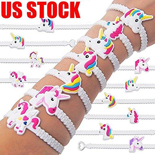 30Pcs White Unicorn Bracelet Bangle Kids Children Gift Stocking Fillers Party ()