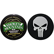 Smokey Mountain Herbal Chew or Snuff Wintergreen Pouch - 1 Can - Includes DC Skin Can Cover (Punisher Skin)