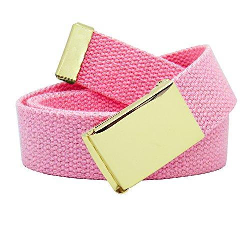 Women's Gold Brass Flip Top Belt Buckle with Canvas Web Belt XX-Large Pastel Pink