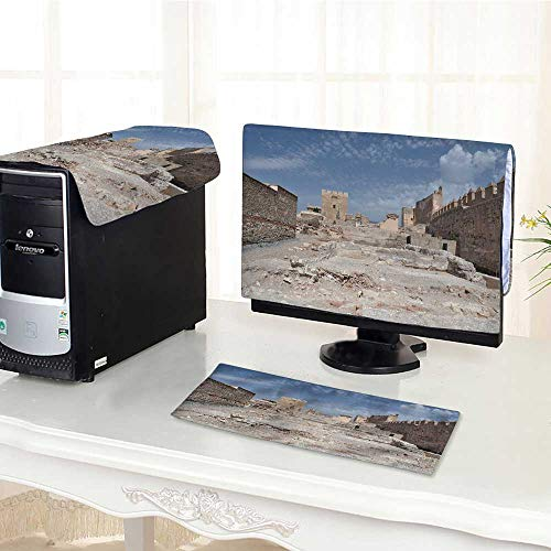 (UHOO2018 One Machine LCD Monitor Keyboard Cover alcazaba Fortress in almeria dust Cover 3 Pieces /30