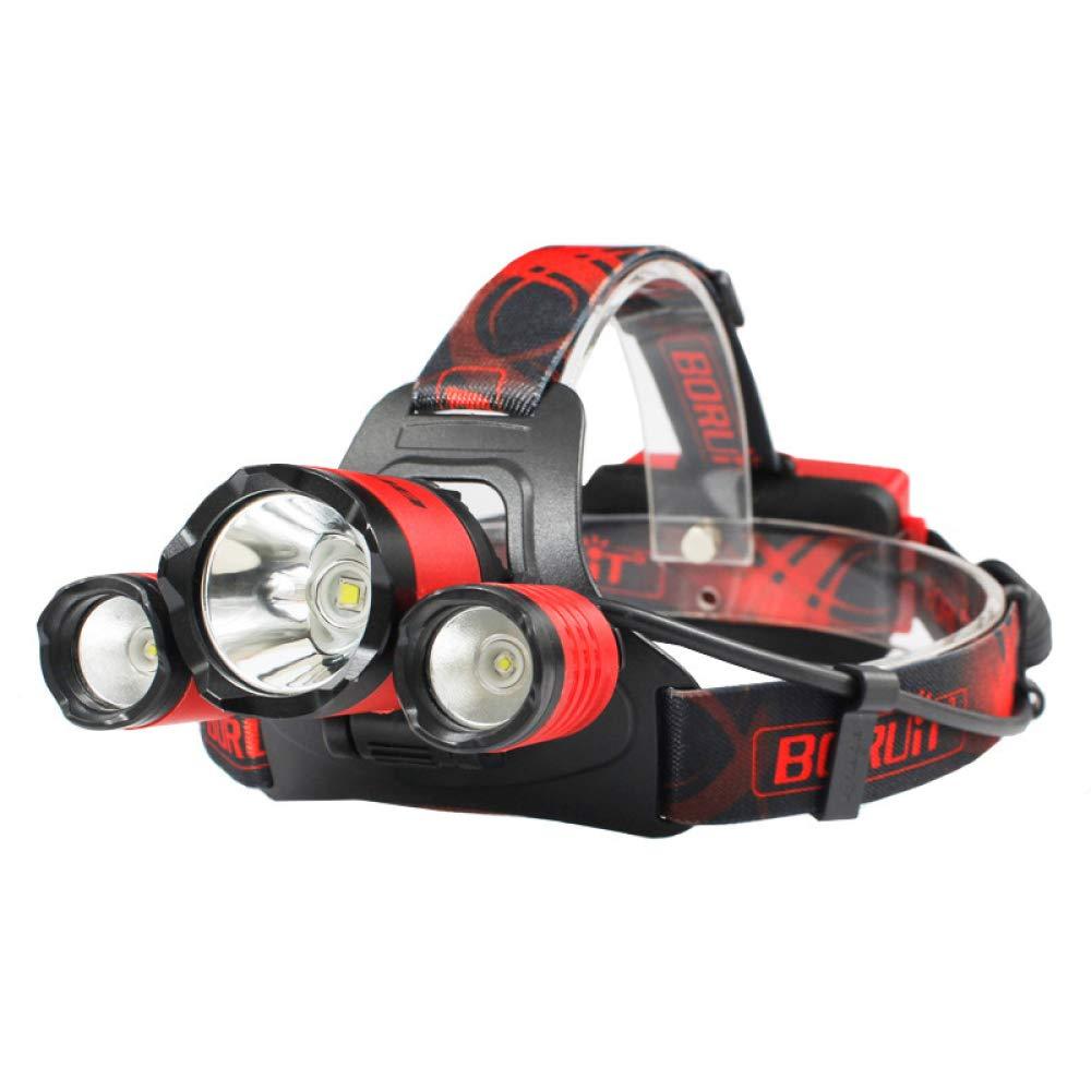 Headlights 3Led L2+2R2 Glare USB Charging Night Riding Fishing Headlights,Red,A