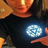 Tony Stark Light-Up Arc Reactor LED Iron Man Black T Shirt Sound Actif (XXXL, IRON MAN 3)