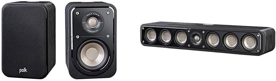 Polk Audio Signature Series S10 Bookshelf Speakers for Home Theater, Surround Sound and Premium Music | Powerport Technology & Signature Series S35 Center Channel Speaker