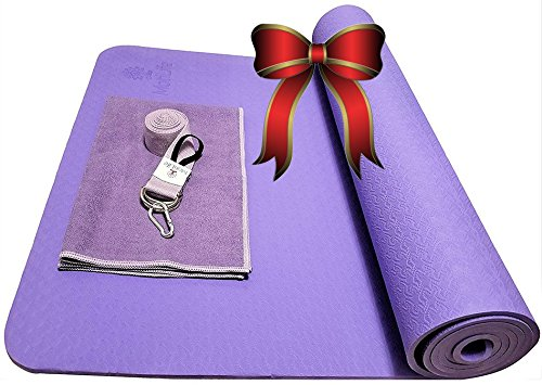 "Thick Yoga Mat w/ Yoga Mat Strap,Hand Towel, & Bag-Improve Your Coordination with Ease | Studio Quality TPE Eco-Friendly, Non-Slip, Non-Toxic, Durable workout mat | 72""x24"" (6mm) (Light Purple)"