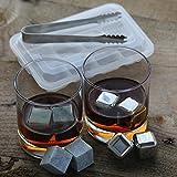 Whiskey Stones Combo Set, Dry-Ice Gift Set, Stainless Steel Whiskey Cubes and Soapstone Whiskey Rocks Combo Set, Whiskey Chiller, Wine Chiller