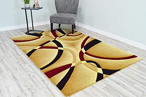 (PlanetRugs Premium 3D Effect Hand Carved Thick Modern Contemporary Abstract Area Rug Design 2305 Burgundy Beige 5'3''x7'6'')