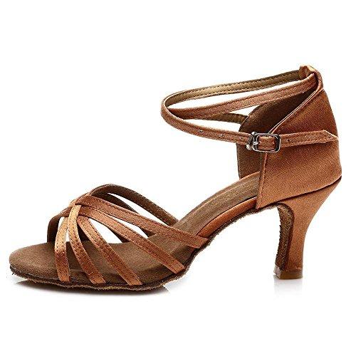 Braun Dance Schuhe Absatz 7CM 7 Absatz mit Latin Tango Frauen Ballsaal YFF Own6xqvIBX