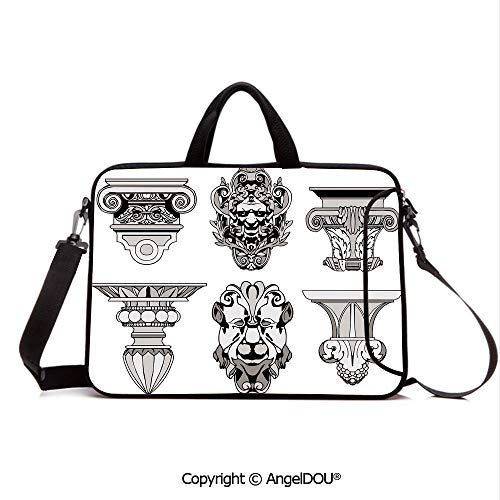 0b012e228f0a AngelDOU Neoprene Laptop Shoulder Bag Case Sleeve with Handle and Extra  Pocket Roman Architectural Decorations Sphinx Lion and Column Antique  Design ...