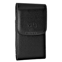 BlackBerry Curve 9220 Premium Black Vertical Leather Case Holster Pouch w/ Magnetic Closure and Swivel Belt Clip