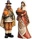 Set of 2 Autumn Harvest Man and Woman Pilgrim Carved Fall Thanksgiving Figures 9""