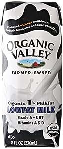 Organic Valley Organic 1% Lowfat Single Serve Milk, 8-Ounce Aseptic Cartons (Pack of 24)
