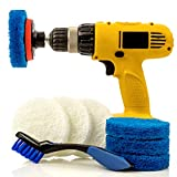 Bathroom & Kitchen Power Scrub Pad Cleaning Kit with Deep Cleaning Brush - 10 Piece Set Includes EXTRA Scrub Pad