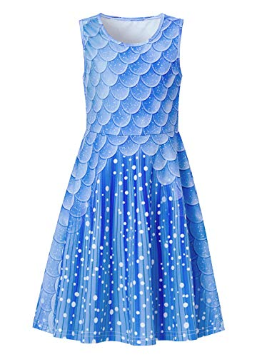 uideazone Kids Girls Printed Mermaid Fish Scale Sundress Cute Sleeveless Playwear Dress for Summer Spring Back to School