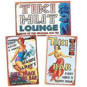 Tiki Time Tin Sign Set/3 (Time Tin Sign)