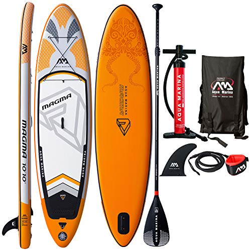 Aqua Marina Magma Inflatable Stand Up Paddle Board 10 10 6 Thick Includes Double Action Pump, Magic Backpack, Slide-in Center Fin, Sports III Paddle, Safety Leash