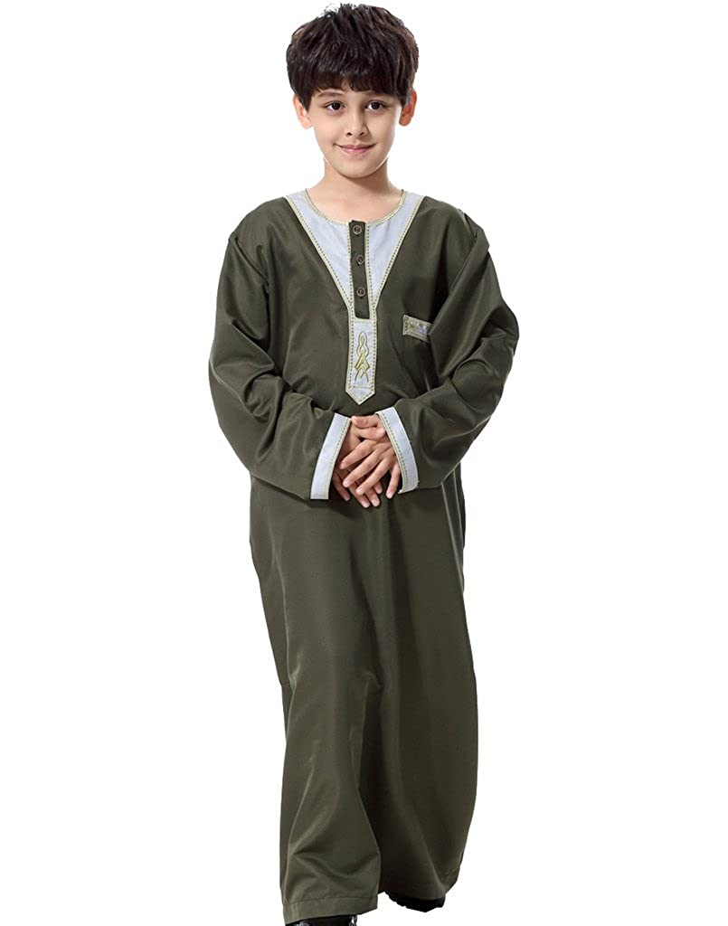 GladThink Boy's Muslim Thobe Long Sleeves
