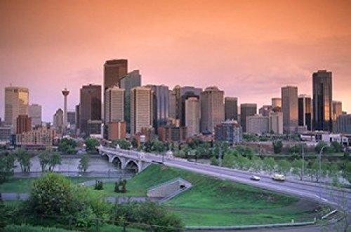 Posterazzi Skyline of Calgary Alberta Canada Poster Print by David R. Frazier, (26 x 17)