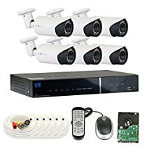 GW Security VDW6C8CH40H 8 Channel 960H DVR Security Camera System with 6 x 900TVL Varifocal Zoom Outdoor/Indoor Cameras, 1 TB Hard Drive (White)