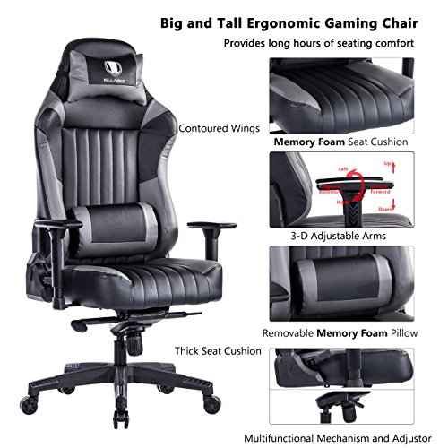 KILLABEE Big and Tall 400lb Memory Foam Gaming Chair - Adjustable Tilt, Back Angle and 3D Arms Ergonomic High-Back Leather Racing Executive Computer Desk Office Chair, (Grande Executive Leather)