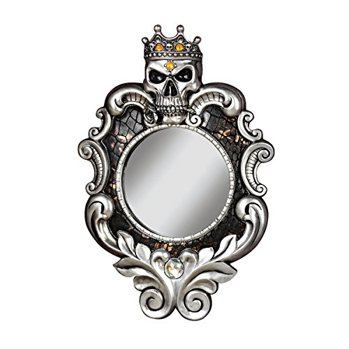 Design Toscano The Fairest One of All Wall Mirror, Silver (Skull Wall Mirror)