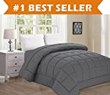 Best Selling Luxury Comforter on Amazon! Elegant Comfort Ultra Plush Down Alternative Double-Filled Comforter%100 HypoAllergenic, King/Cal King, Gray