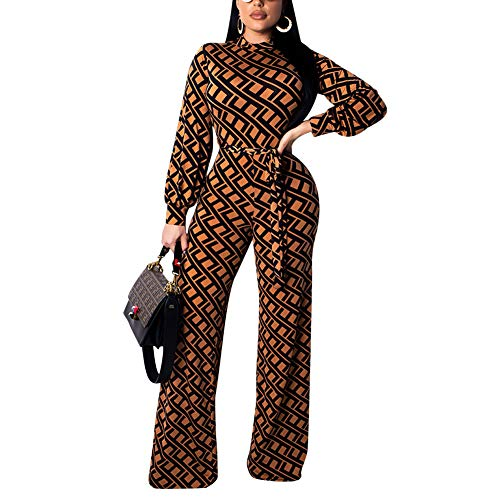 Kafiloe Womens Long Sleeve Print Bodycon Flare Bell Bottom Pants Party Jumpsuit Rompers with Belt Khaki ()