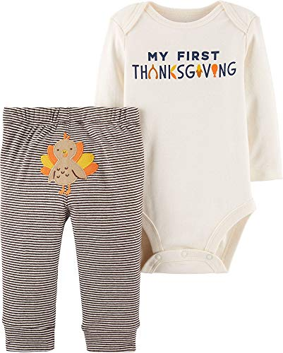 Carter's Baby 2-Piece Thanksgiving Bodysuit Pant Set,Ivory/Brown,9 Months