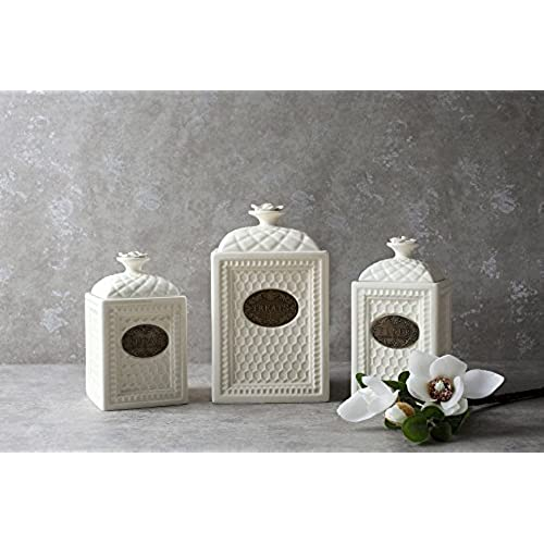 Merveilleux White Kitchen Canisters